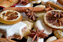 Christmas baking. Christmas decoration with spice and christmas cookies Royalty Free Stock Photography