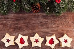 Christmas baking double border with jam cookies royalty free stock photography
