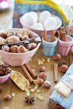 Christmas baking and ingredients Royalty Free Stock Images