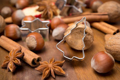 Christmas baking ingredients - nuts, spices, close-up Stock Image