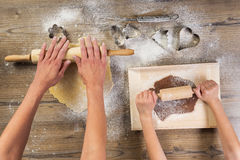 Christmas baking, mother and daughter together made Royalty Free Stock Photography