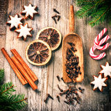 Christmas baking setting with gingerbread cookies and spices Stock Photo