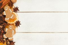 Christmas baking side border against white wood Stock Image
