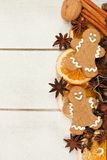 Christmas baking side border against white wood Royalty Free Stock Photo