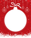 Christmas ball 1. Christmas ball with snowflake on red patterned background Royalty Free Stock Images