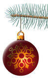 Christmas ball. Vector illustration of christmas ball hanging on blue spruce branch isolated on white background. Illustrator mesh is used for spruce branch and Stock Image