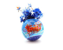 Christmas ball. With tinsel isolated on white Stock Images