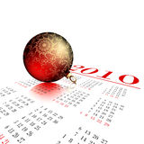 Christmas ball. Ornate red christmas ball on calendar, this illustration may be usefull as designer work Stock Photos