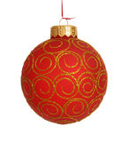 Christmas ball. Hanging Christmas bauble isolated on white Royalty Free Stock Image