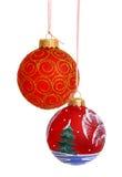 Christmas ball. Hanging Christmas bauble isolated on white Stock Photos