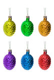 Christmas ball. Christmas tree decoration - cone. White background stock photos