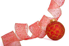 Christmas ball. Hanging Christmas bauble isolated on white Royalty Free Stock Photos