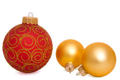Christmas ball. Hanging Christmas bauble isolated on white Royalty Free Stock Photo