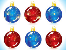 Christmas ball. With floral in blue and red background vector illustration Royalty Free Stock Photo