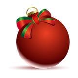 Christmas ball. Illustration of red Christmas ball with ribbon Royalty Free Stock Image