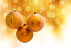 Christmas ball. Decoration on yellow background stock photography
