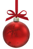 Christmas ball. Christmas ball, hanging from a ribbon, isolated on the white background, clipping path included Royalty Free Stock Photo