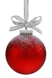 Christmas ball. Christmas ball, hanging from a ribbon, isolated on the white background, clipping path included Stock Photography