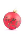 Christmas ball. Red christmas ball isolated, one Stock Photo
