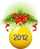 Christmas ball 2012. Yellow Christmas ball 2012. Vector over white. EPS 8 Royalty Free Stock Photos