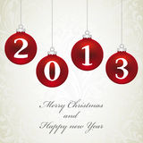 Christmas ball with 2013. On floral background Royalty Free Stock Images