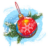 Christmas ball. Colorful hand drawn christmas ball, created as artistic painterly style, elements are grouped, easy to edit Stock Illustration