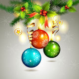 Christmas ball. With pine tree branch Royalty Free Stock Images