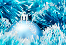 Christmas ball. Blue christmas ball and ornaments Royalty Free Stock Photo
