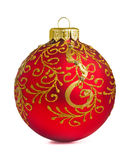 Christmas ball. Red christmas decoration ball isolated on white Royalty Free Stock Photo
