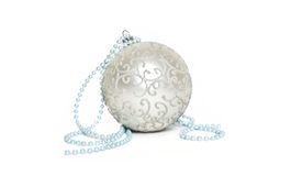Christmas ball. Silver christmas sphere ornament for decoration Stock Photos