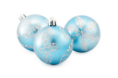 Christmas ball. Blue christmas ball isolated on white Royalty Free Stock Photos