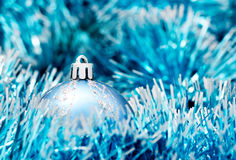 Christmas ball. Blue Christmas ball with decoration Royalty Free Stock Photo