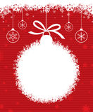 Christmas ball 3. Christmas ball with snowflake on red patterned background Stock Photos