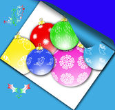 Christmas ball. On blue background Royalty Free Stock Images