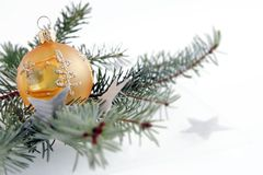 Christmas ball. Orange christmas ball. Christmas decoration Royalty Free Stock Photos