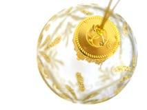 Christmas Ball. Gold transparent beautiful christmas ball Stock Photo