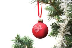 Christmas ball. Hanging from a branch from a Christmas tree stock image