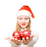 Christmas ball. Isolated portrait of a girl Stock Image