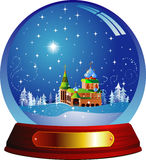 Christmas ball. Vector snow globe with a castle within. Vector illustration. Isolated on white Stock Photography