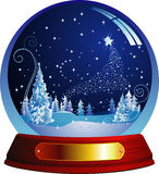 Christmas ball. Vector snow globe with a forest within. Vector illustration. Isolated on white Stock Photo