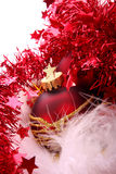 Christmas ball. Christmas red ball with gold pattern Royalty Free Stock Image