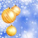 Christmas ball on abstract blue lights. EPS 8 Stock Photo