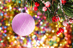 Christmas ball on abstract New Year's background stock image