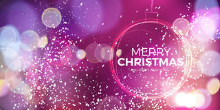 Christmas ball. Abstract sparkling circle on pink background. Stock Image
