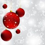 Christmas ball on abstract winter gray Stock Image