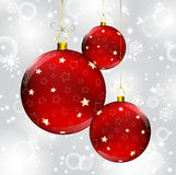 Christmas ball on abstract winter gray Stock Images