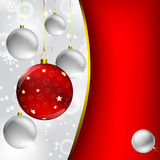 Christmas ball on abstract winter gray Royalty Free Stock Image