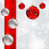 Christmas ball on abstract winter gray Royalty Free Stock Images
