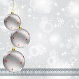 Christmas ball on abstract winter gray Stock Photography