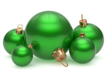 Christmas ball adornment decoration green New Year's Eve. Christmas ball adornment decoration glossy green New Year's Eve five shiny wintertime hanging baubles Stock Image